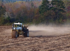 Fall lime spreading in York